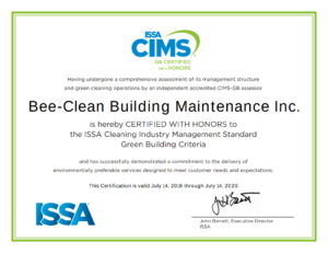 Bee Clean ISSA CIMS GB Certified with Honors